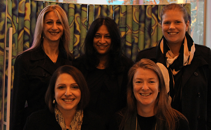 L-R: (Top row) Dr Milena Awad, Dr Yogitha Srikhanta, Dr Melanie Hutton. (Seated) Professor Dena Lyras and Dr Sheena McGowan.