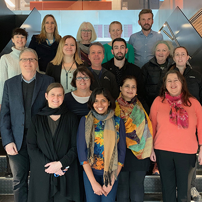 Caption: L-R (back row) Dr Ann Bohte, Ms Shelley Thirlwell, Ms Ann-Maree Jeffris, Mr Chris Bramich (third row) Dr Anita Barry, Dr Chantal Hoppe, Mr Stephen Thompson, Mr Joel Eliades, Ms Barbara Smith, Ms Danielle West (second row) Professor Rob