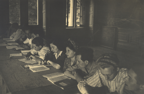 Boys in Switzerland, learning. Chaim J (3rd from right).