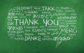 Thank You in Many Different Languages on Chalkboard