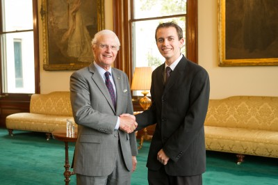 2013 Rhodes Scholarship recipient Geoffrey Pascoe is congratulated by The Honourable Alex Chernov AC QC, Governor of Victoria