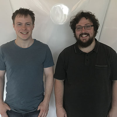 PhD candidates Declan Rowley (L) and Tom Burns