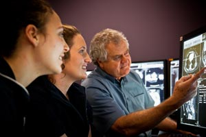 Male radiologist explains on-screen scans to two female students
