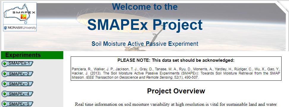 Soil Moisture Active Passive Experiments
