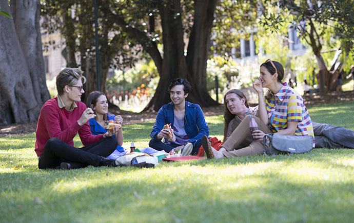 Students having a picnic