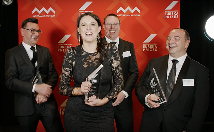Dr Chris Andoniou, Professor Mariapia Degli-Esposti, Peter Fleming and Dr Paulo Martins at the Eureka Prize award night. Absent: Professor Geoff Hill.