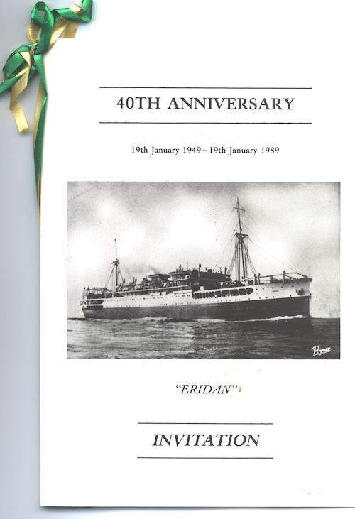 Max Z's invitation to the 40th anniversary of his journey on the Eridan to Australia