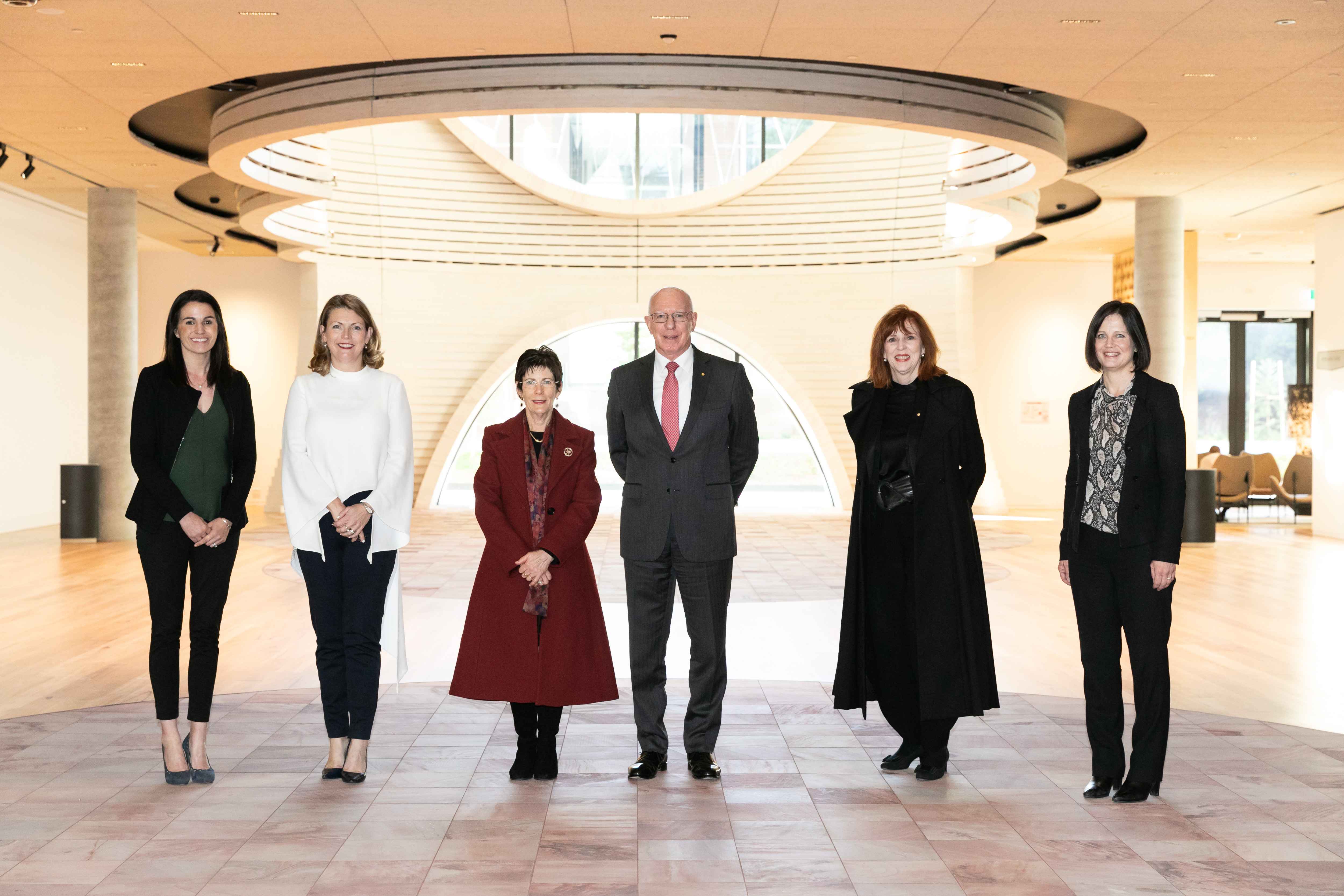 Associate Professor Kate Fitz-Gibbon, Professor Sharon Pickering, Mrs Linda Hurley, His Excellency Governor-General David Hurley, Professor Margaret Gardner, Professor Jacqui True