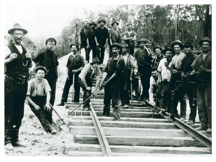 Railway construction workers, Bairnsdale-Orbost line