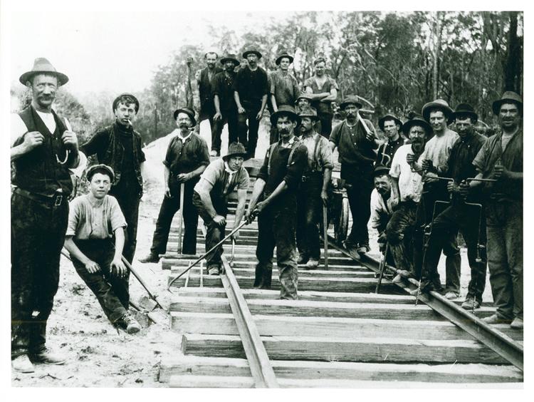Railway construction workers, Bairnsdale-Orbost line
