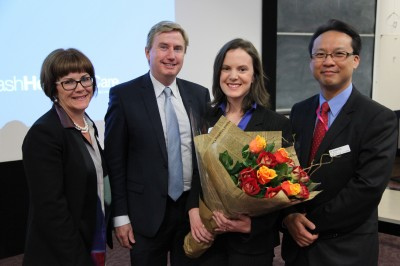 (L-R): Monash Health CEO Shelly Park, Professor Peter Ebeling, Dr Megan Brown, Dr Henry Ma