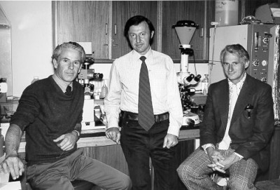 Professor Wood (r) with fellow IVF researchers Associate Professor John Leeton and Dr Alex Lopata