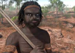 Virtual reality image of an Aboriginal man