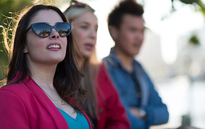 female student wearing sunglasses
