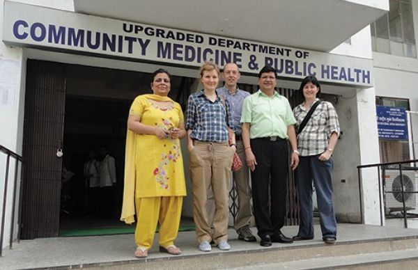 Dr Tori Oliver (2nd from left), Pete Lambert (3rd from left) and A/Prof Michelle McIntosh (far Right) with other stakeholders in India