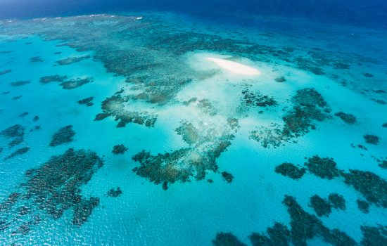 Coral sandy cay and Great Barrier Reef, Queensland, Australia
