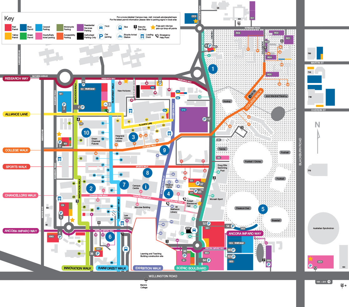 Monash University Map Garden locations at Clayton Campus | Monash University