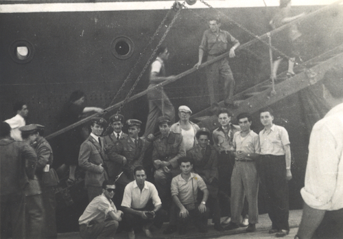 Yossl B and Ben E are photographed among the Boys on the Napoli. Mina Fink and others met them at Station Pier when they arrived.