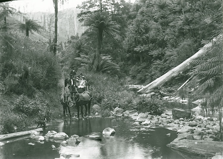 Coleman family crossing Middle Creek, 1908