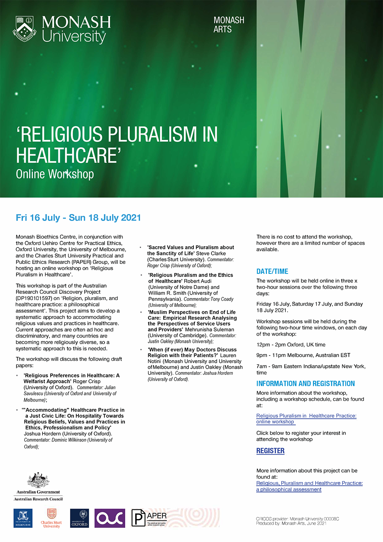 Flyer for workshop with details of time and workshops
