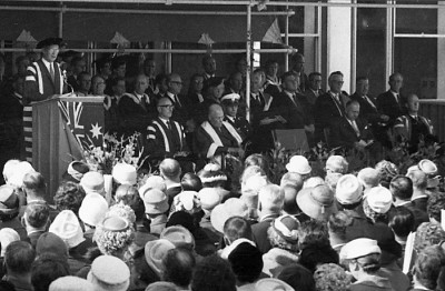 The official opening ceremony of Monash University. Image courtesy of Monash University Archives. Photographer: Jack Lawrence.