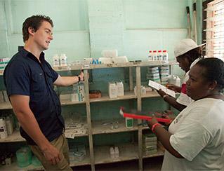 Michael Nunan with local health staff at Marara Clinic, Guadalcanal, Soloman Islands