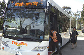 front of large bus