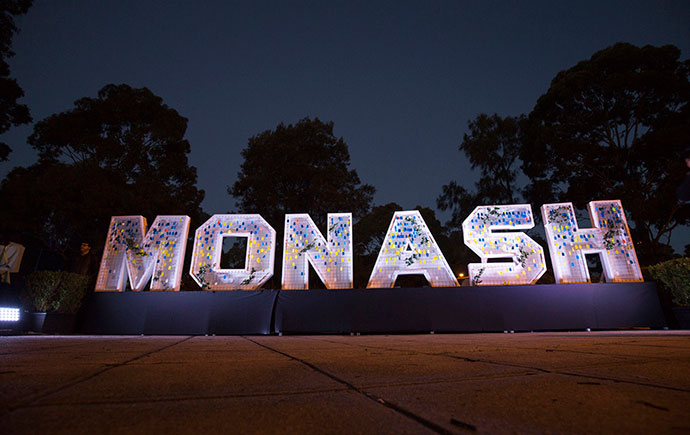 Lit up Monash sign