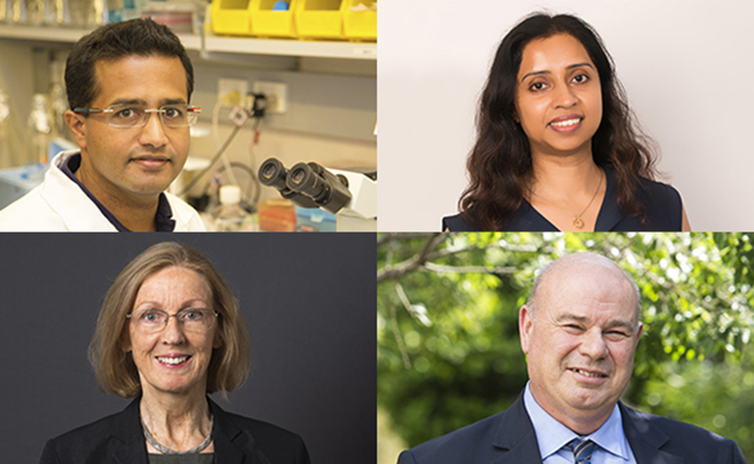 Clockwise: Dr Sanjaya Kuruppu, Dr Niwanthi Rajapakse (University of Queensland), Professor Ian Smith and Professor Helena Parkington.