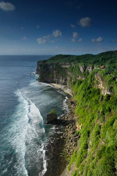 The cliffs along Uluatu in Bali, Indonesia