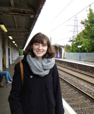 Ruth Clifford catching the train in Birmingham, UK