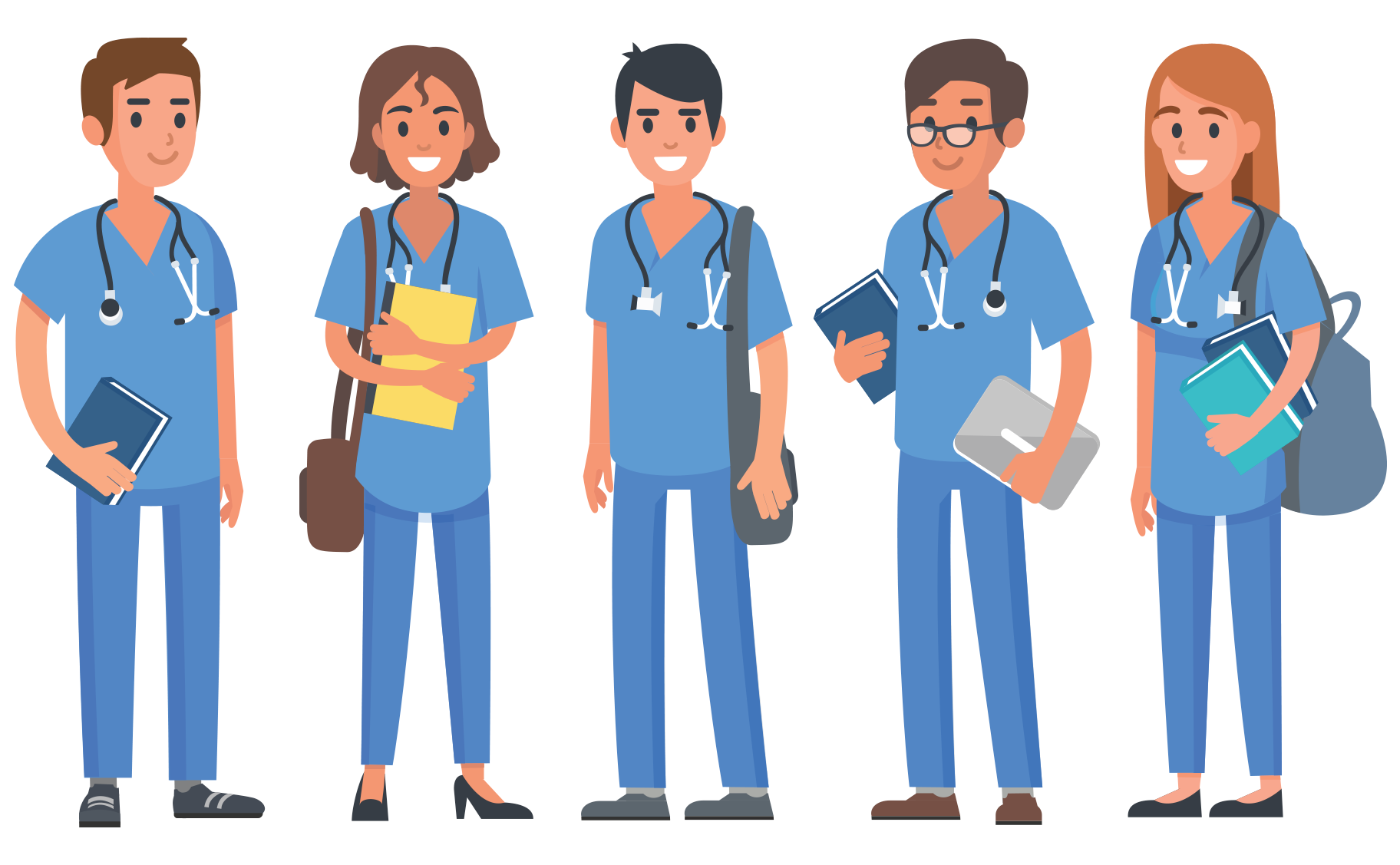 Illustration of five medical students standing in a line