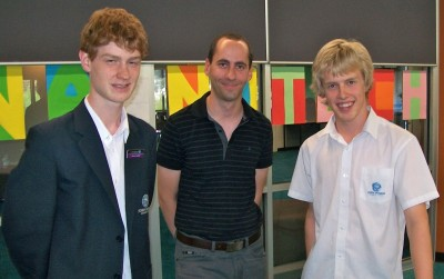 Dr Michael Gantier with John Monash Science School students Chris Whittle and Matthew Gebert.