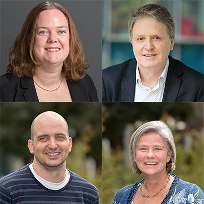 Top (L-R) Dr Kylie Wagstaff, Professor Robert Widdop and bottom (L-R) Dr Mark Del Borgo and Professor Mibel Aguilar