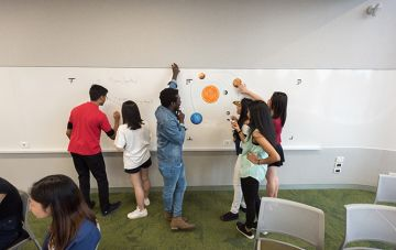 Learning and Teaching Building group of students by whiteboard