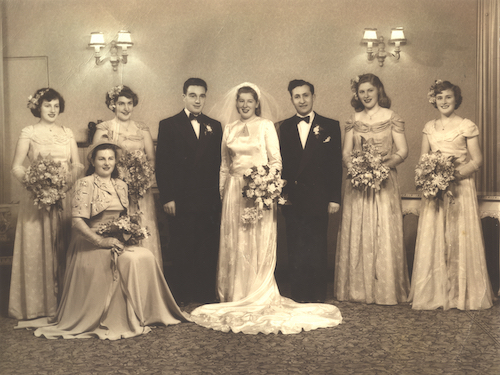 Two of the Buchenwald Boys, Henry S and Chaim J, married two sisters. This photo is of Henry and his bride, Freda. Chaim is pictured to the right of Freda, and her younger sister, Rachel, who was to become Chaim's wife, is standing next to him.