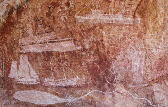 Indigenous painting on wall from early to mid 1900s