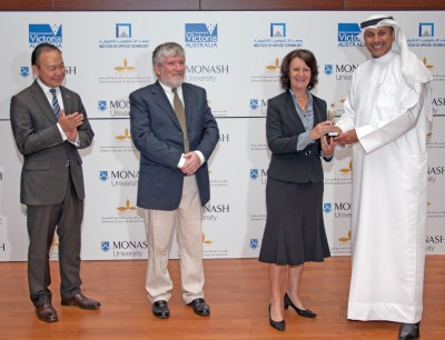 Pablo Kang, Australian Ambassador to the UAE; Professor Shane Thomas Deputy Dean (International) Faculty of Medicine, Nursing and Health Sciences; Louise Asher ; Dr Abdullatif Al Shamsi of FCHS