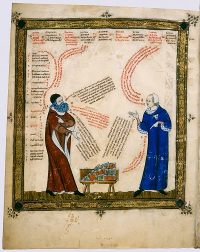 Ramon Llull and his student, Thomas le Myésier (1321). This painting is in the public domain because of its age.