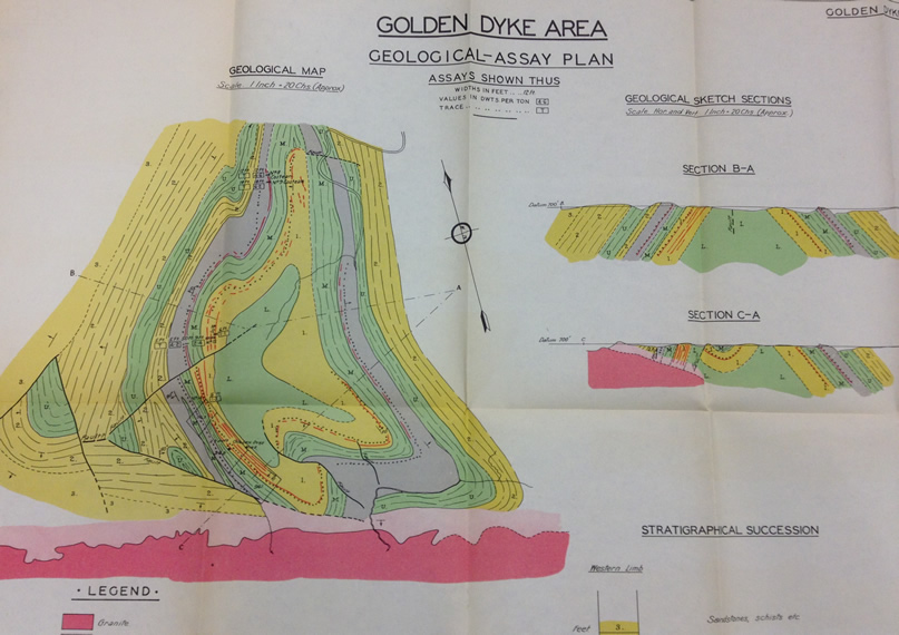 Geological maps and reports feature in the collection. Example: The Golden Dyke Mine