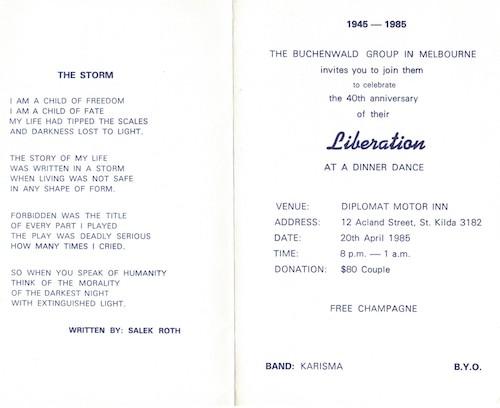 Salek R's poignant poem was written on invitations to many of the Buchenwald Balls.