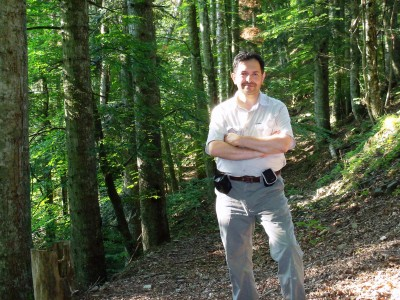 Monash PhD student, Fabrizio D\\\'Aprile  in the midst of the Tuscan silver firs