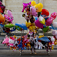 Colourful balloons in Prato, Italy