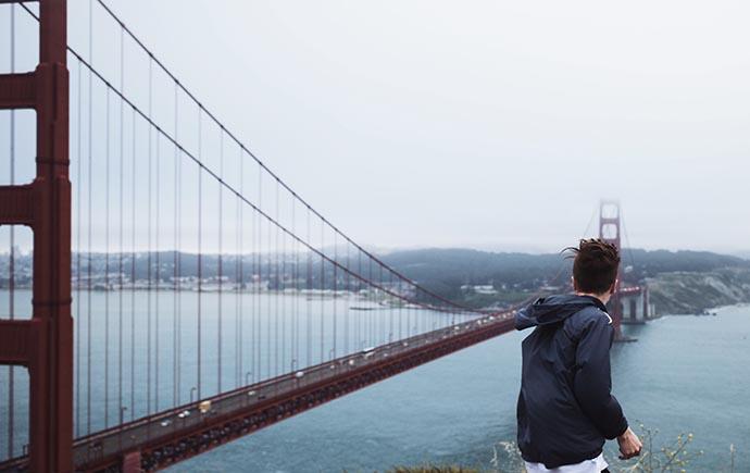 Man at Golden Gate Bridge