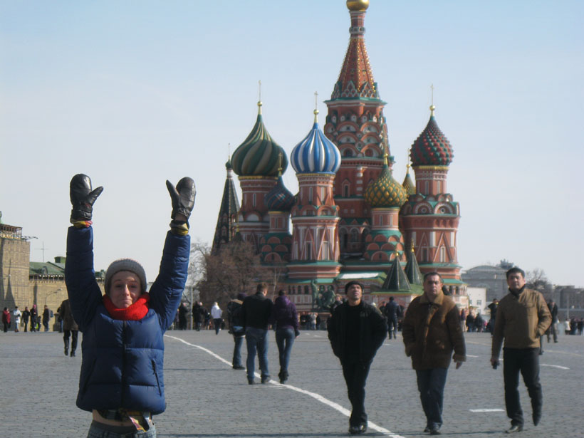 Three Russian men and me in Moscow, Russia