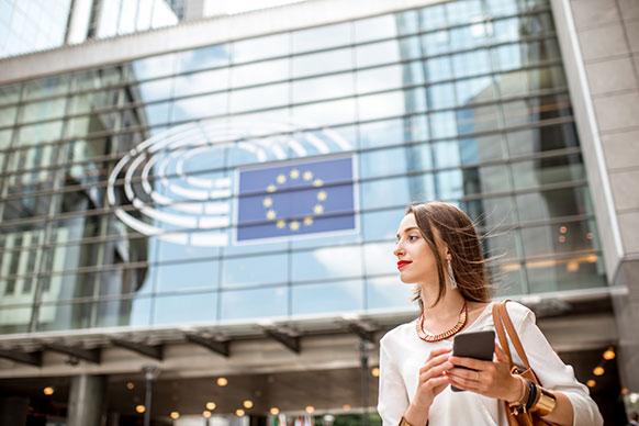 Business women in front of EU building