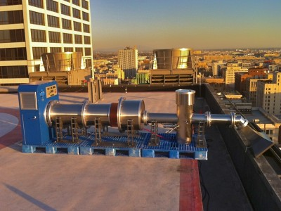 Electromagnetic bomb mockup on a Los Angeles high rise rooftop helicopter pad prior to the NCIS LA episode shoot (Courtesy Shane Brennan Productions)