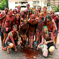 Students in Malaysia enjoying Holi – the colourful Hindu religious spring festival