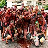 Students in Malaysia enjoying Holi – the colourful Hindu religious spring festival
