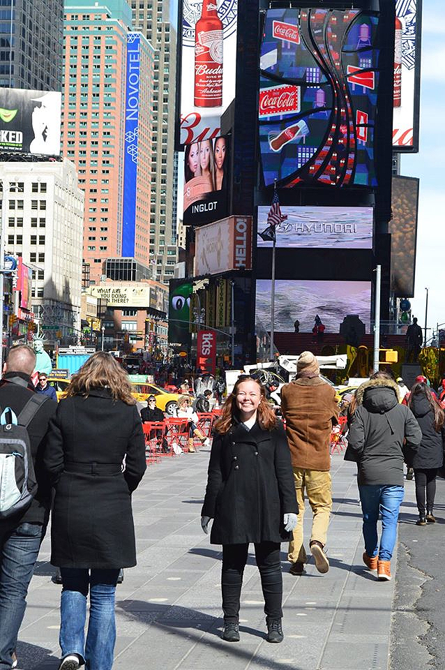 Jessica Kensey in Times Square.